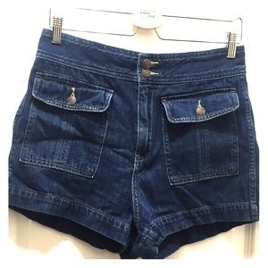 High waist darkwash denim shorts